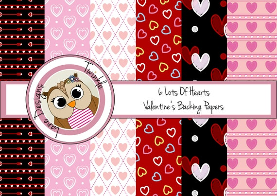 6 Lots Of Hearts Digital Papers, for Valentine's Day or Anniversary, Backing Papers for Cardmaking, Love Hearts, A4 Papers, Instant Download