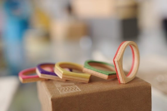 skateboard recycled wood ring     SUMMER COLOR