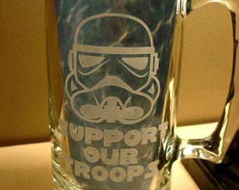 Etched GLASS Beer Mug, Star Wars Trooper Beer Mug, Glass Star Wars Beer Mug, Star Wars Stormtrooper, Custom Beer Mug, Star Wars Beer Stein