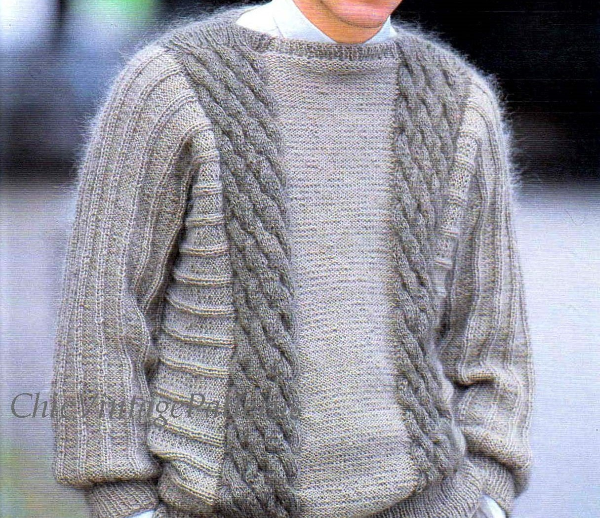 Knitting Pattern Mohair Jumper : Knitted Mens Sweater ... Mohair Cable Jumper ... PDF Knitting