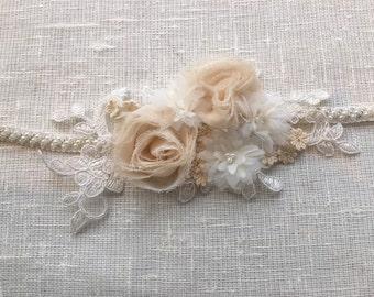 Vintage inspired bridal sash with floral motifs, bridal belt, bridal sash, wedding belt, wedding sash, wedding dress belt sash, belt