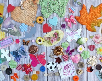 Craft pack, embellishment and ephemera collection for scrap booking journals card making mixed media artists and creative types! Supplies.
