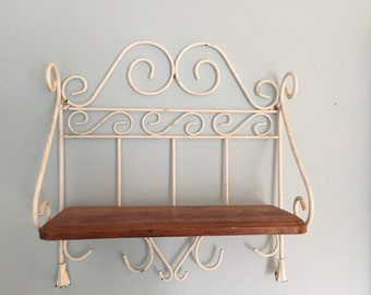 Rustic Vintage Metal and Wood Shelf Scroll French Country Decor