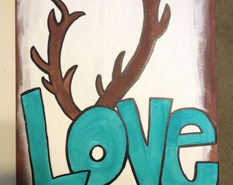 Love Canvas with Antlers