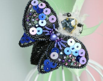 Beautiful pin Butterfly 3D embroidered Swarovski and pearls go flexible lace