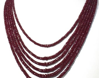 NATURAL RUBY BEADS necklace