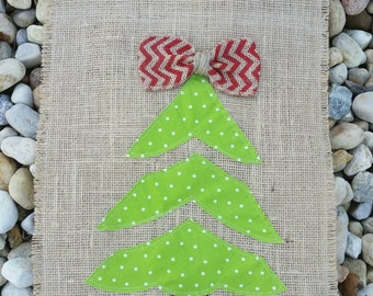 Christmas Tree Burlap Garden Flag / Christmas Flag / Burlap Garden Flag