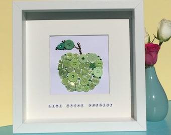 Personalised green apple - Teacher thank you gift - handmade artwork - apple for the teacher