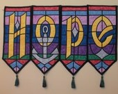 HOPE Stained Glass Quilted Banner