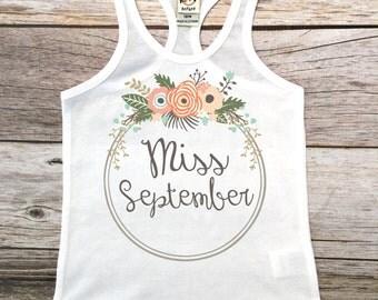 Miss September Tank, Birthday Tank,Birthday Girl Shirt, Birthday Tank Top, Miss September Birthday Girl Tank Top,Birthday Girl