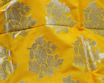 Silk Brocade Fabric Yellow Gold, indian silk brocade, Wedding Dress Fabric, brocade silk fabric, Banarasi Art Silk Fabric by the Yard