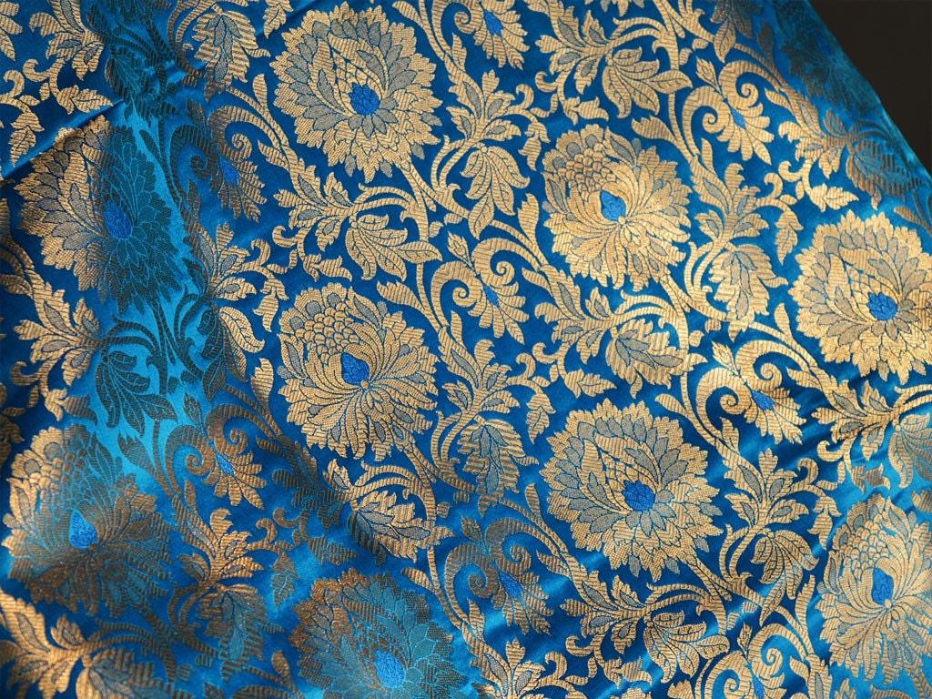 Silk Brocade Fabric Turquoise Gold Weaving Banaras Brocade