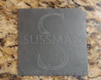 Custom Engraved Slate Coasters #1 (Set of 4)