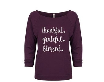 Women's thankful grateful blessed Off the Shoulder Raw Edge Sweatshirt, Thanksgiving Outfit, Funny Tshirt, Thanksgiving Shirt, Holiday Shirt