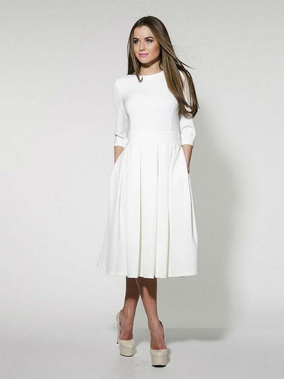 Simple Elegant White Wedding Dress : Simple white dress elegant midi formal pleated wedding