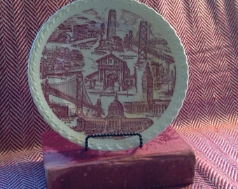 Red and White City of San Francisco Plate by Vernon Kilns USA