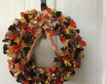 "Fall ""Candy Corn"" Rag Wreath"