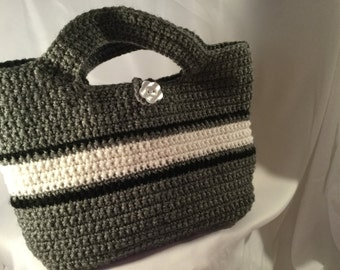 Grey Striped Handbag / Purse
