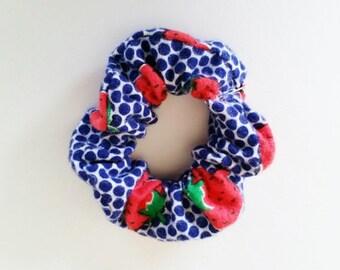Strawberry Hair Scrunchie / Cute Hair Tie / Girls Hairband / Ponytail Hair Ties  / Polka Dots / 80s Inspired / Strawberry Hair Accessory