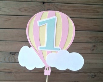 Pastel Hot Air Balloon Cake Topper - up up & away party - personalized - party supplies - cake decorations - boys first birthday