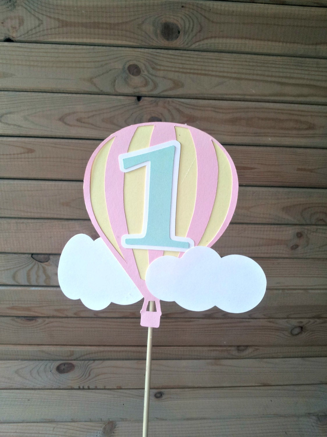 Pastel hot air balloon cake topper up up away party for Balloon cake decoration