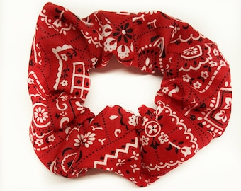Red bandana headbow, scrunchie,Red Baby bandana ,Red Head Scarf,Red Paisley scrunchie, photo prop,Top knot,turban,headband