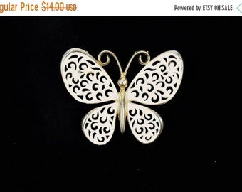 Super Sale Vintage Jonette-White Enameled Gold Tone-Butterfly Brooch Pin-Circa. 1960's