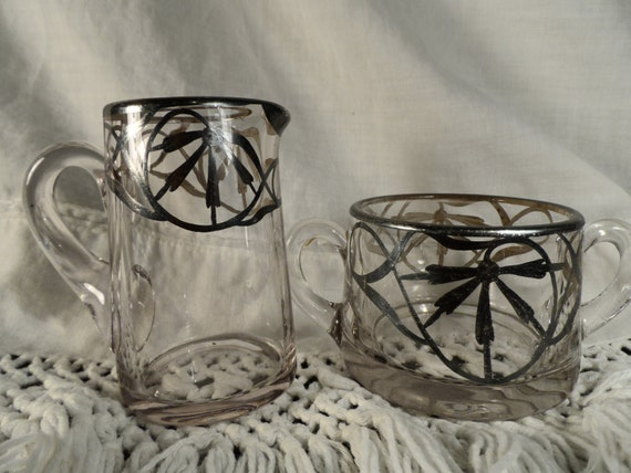 Antique Glass Creamer and Sugar-Clear Glass with Silver Overlay Decor Creamer and Sugar