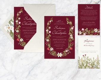 Printable Wedding Invitation Set, Vintage Rustic Botanical Wedding Invitation Set, Flower Floral Maroon Wine Marsala Wedding Invitation Set