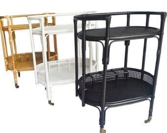 Oval Natural Rattan Bar Cart in Natural, White or Black