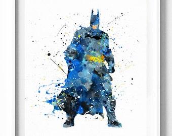 Batman Print, DC Comics, Justice League, Superhero, Watercolor Art, Printable, Home Decor, Wall Art, Baby Nursery Decor, Kids Decor, Gifts