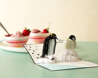 Penguin Pop Up Birthday Card, Penguin Birthday Card, Bday Card, Penguin Bday Card, Card for Birthday, Arctic Pop Up Card, Penguin Card