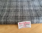 Harris Tweed Cloth Fabric Silver Grey Black White Check Tartan Luxury Handwoven 100% Pure Virgin Wool