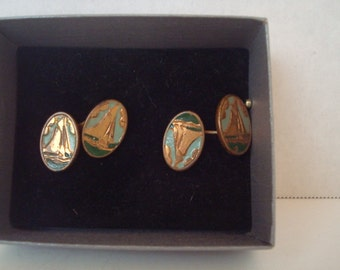 Exquisite enamel and gold tone double vintage cufflinks