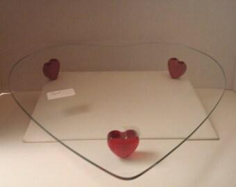 Vintage heart shaped glass platter