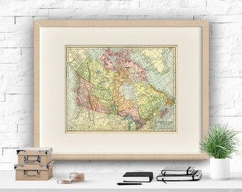 Canada Map Canada Printable Art Print Old Map Poster Vintage Map Print Canada Printable Canadian Map Print Old Map of Canada