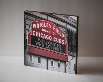 "5x5"" or 8x8"" WOOD PHOTO BLOCK- Wrigley Field Vintage Neon Sign Art Print Mounted on Wood Block"