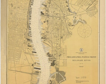 Philadelphia Waterfront & Delaware River Historical Map 1879