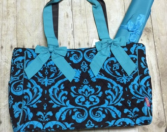 monogrammed brown and blue quilted diaper bag monogrammed diaper baby gift