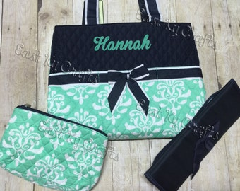 Diaper Bag personalized mint 3 piece set