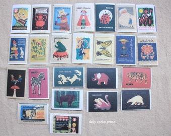 Czech Matchbox Label Stickers - 24 pieces - A