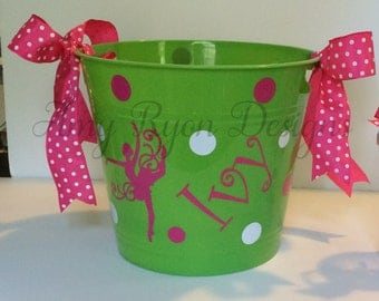 Personalized Plastic Bucket with Dancer for Valentine's Day, Easter or Any Other Occasion