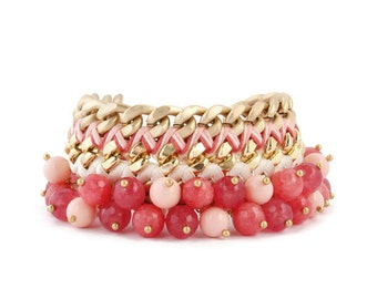 Statement Bracelet 'SHADES OF CORAL' pink, gold