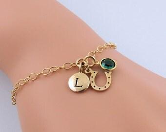 Gold Horseshoe Bracelet, Lucky Horseshoe, Equestrian Bracelet, Tiny Horseshoe Charm Bracelet, Personalized Horseshoe, Initial Bracelet