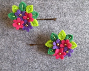 Hairpins with leaves, flowers, purple and Fuchsia with gilt beads; Felt hair accessories: hair clips; Bobby pins for teenagers.