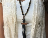 Genuine Leather Tassel Necklace | Black & Brown | State of TN Rusted Metal Cutout | Other States Available!