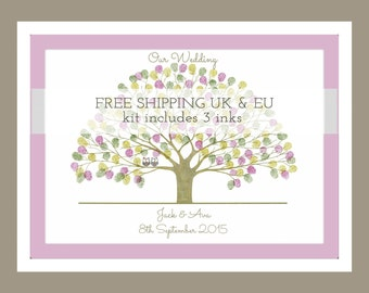 Fingerprint Tree,  WEDDING with owls and personalised inc 3 inks  - Ref; Oak Owls, Hibou & Hoot. (A3 poster)