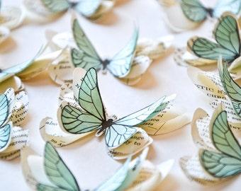 Papillons en papier bleu ciel, décoration mariage bord de mer, décoration mariage pastel, décoration réception, cérémonie mariage plein air