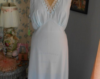 Pretty Light Blue 1940's Nightgown from Saks Fifth Avenue Never Worn