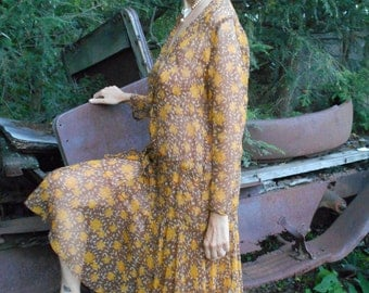 The Ultimate 1920's Flapper/Great Gatsby/Downton Abbey Chiffon Drop-waist Dress Gold and Brown Leaves